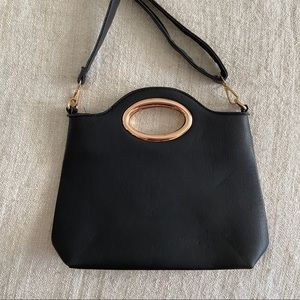 Black Ring Detail Hand Bag